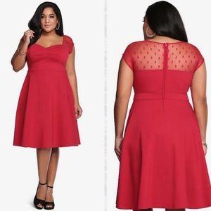 Torrid red polka dot mesh inset swing dress